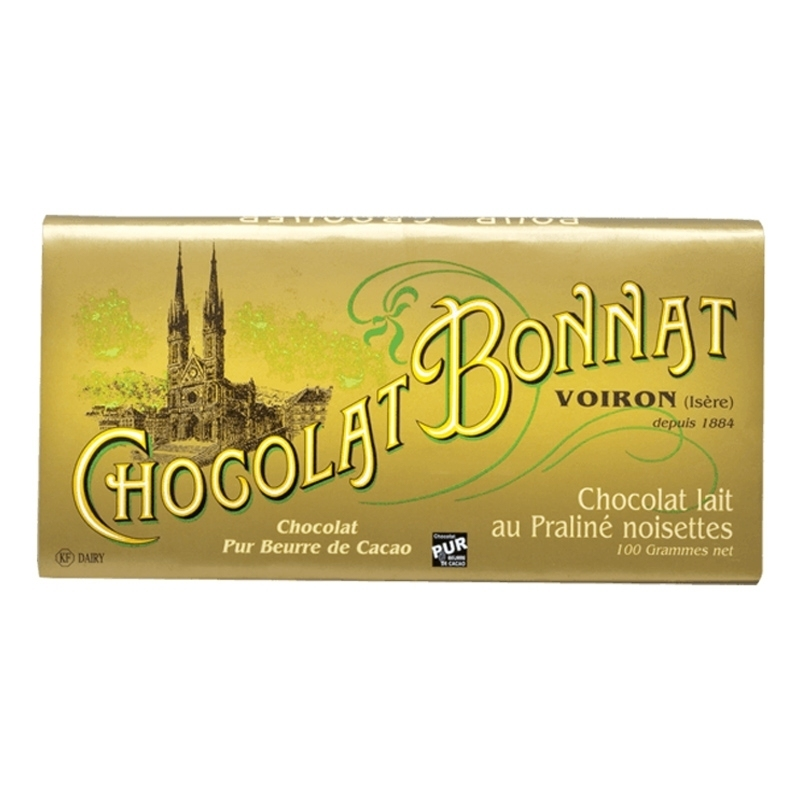 Tablettes praliné  Chocolat Bonnat Lait au Praliné Noisettes - Torréfaction Noailles