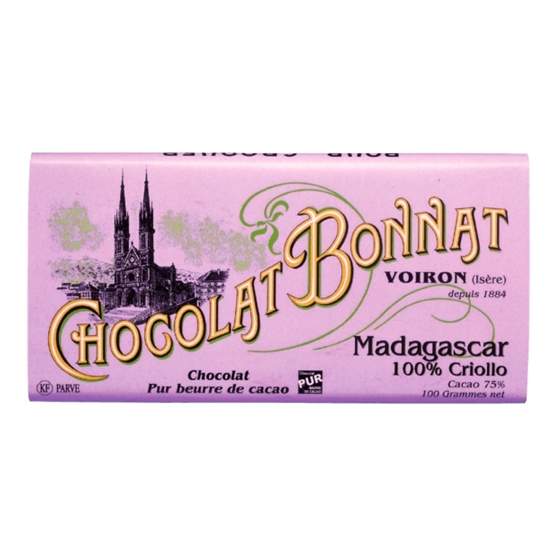 Grands crus d'exceptions noir Chocolat Bonnat Madagascar 100% Criollo - Torréfaction Noailles