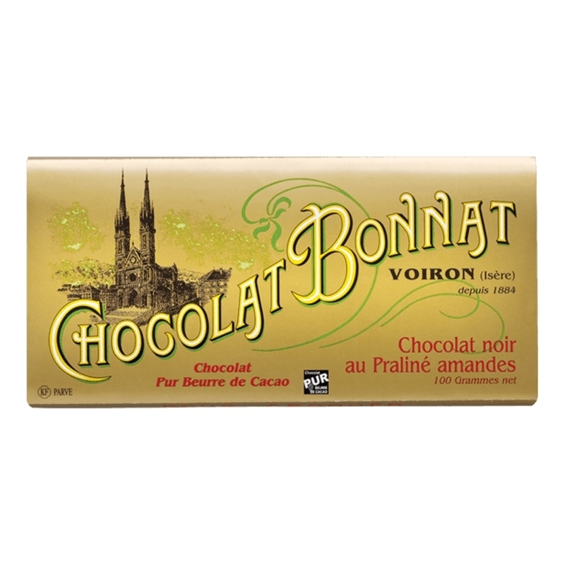 Tablettes praliné  Chocolat Bonnat Noir au Praliné Amandes - Torréfaction Noailles